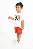 LUESS Erkek Çocuk Kırmızı Baskılı Organik Alt Üst Takım
