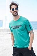 Sateen Men Erkek Yeşil Yazı Baskılı T-Shirt