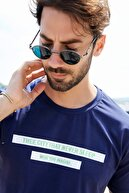 Sateen Men Erkek Lacivert Yazı Baskılı T-Shirt