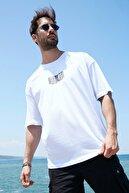 Sateen Men Erkek Beyaz Oversize B Yaka T-Shirt