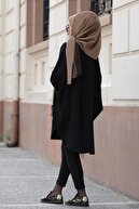 Zarif Tesettür Yarasa Kol Salaş Tunik - Siyah