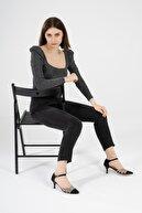 CZ London Kadın Siyah Hakiki Deri Topuklu Ayakkabı Klasik Taşlı Abiye Ayakkabı