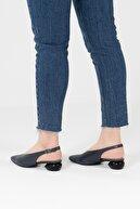 CZ London Kadın  Lacivert Hakiki Deri Lazer Delikli Metal Topuklu Ayakkabı Sandalet