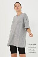 snow basic Gri Basic Oversize T-shirt