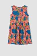 Defacto Kız Çocuk Pembe Çiçek Desenli Kolsuz Elbise