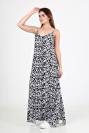 ALEXANDERGARDI Çiçek Desenli Yırtmaçlı Uzun Elbise b21-44300