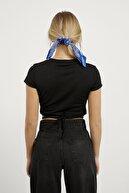 Arma Life Kadın Siyah Scuba Crep Bağlamalı Crop Bluz