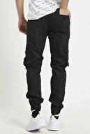Tarz Cool Erkek Siyah Slim Fit Kargo Cep Likralı Pantolon