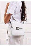 Gez çanta Kadın Beyaz Çizgi Desenli Pu Deri Üç Bölmeli Crossbody Çanta