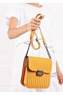 Gez çanta Kadın Sarı Çizgi Desenli Pu Deri Üç Bölmeli Crossbody Çanta