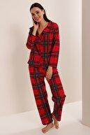 HAKKE Kadın Kırmızı Desenli Örme Pijama Takımı