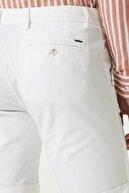 Network Erkek Slim Fit Beyaz Normal Bel Şort 1078015
