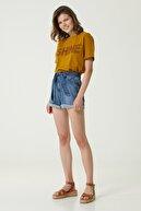 Network Kadın Basic Fit Hardal Baskılı T-shirt 1079560