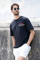 Sateen Men Erkek Siyah B Yaka Baskılı T-Shirt