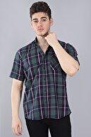 Arlin Erkek Cepli Düğmeli Normal Kalıp Kısa Kollu Yeşil Çizgili Kısa Kol Gömlek