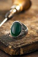 yüzükzade Erkek Yeşil Akik Taşlı Gümüş Yüzük