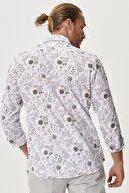 Altınyıldız Classics Erkek BEYAZ-KIREMIT Tailored Slim Fit İtalyan Yaka %100 Koton Baskılı Gömlek