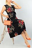 bayansepeti Kemer Hediyeli Kruvaze Yaka Çiçek Desenli Kolsuz Midi Boy Elbise 71724