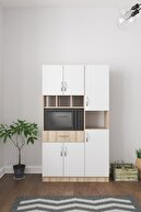 Aeka Ae-3080 Anka Sonomo-beyaz Çok Amaçlı Mutfak Dolabı & Banyo Dolabı 6 Kapaklı, 1 Çekmeceli, Raflı