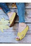 GÖKKUŞAĞI AYAKKABI Kadın Sarı Hakiki Deri Günlük Terlik