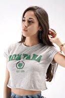 Firesh Montana Baskılı Gri Crop Tişört