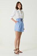 Network Kadın Regular Fit Mavi Kemer Detaylı Şort 1079139