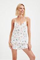 TRENDYOLMİLLA Beyaz Saten Pijama Takımı THMSS21PT1338