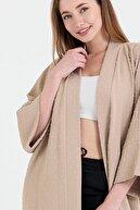 NFREE Kadın Bej Şerit Yaka Yarım Kol Küçük Puantiyeli Kuşak Kapama Tunik