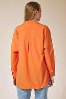 Happiness İst. Kadın Oranj Oversize Uzun Basic Gömlek DD00842