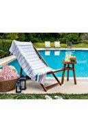 Madame Coco Adalie Armürlü Plaj Havlusu - Mavi / Mint - 75x150 Cm