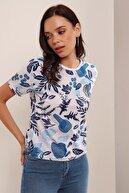 HAKKE Baskılı Yandan Yırmaçlı Oversize Viskon T-shirt