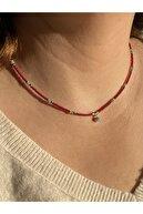 Oliva Nero Kadın Mavi Mineli Uç Koyu Kırmızı Boncuk Gold Aparatlı El Yapımı Kolye