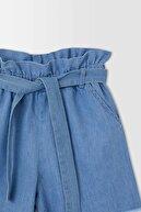 Defacto Kız Çocuk Mavi Esnek Belli Kuşaklı Jean Şort