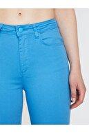 Koton Kadın Mavi Normal Bel Dar Kesim Cep Detaylı Pantolon 9YAL41331MW