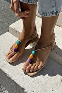 İnan Ayakkabı Boncuk Aksesuarlı Sandalet