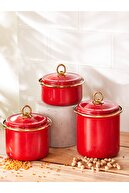Karaca Retro Kırmızı 3lü Emaye Saklama Kabı
