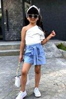 Riccotarz Kız Çocuk Tek Omuzlu Pötikareli Mavi Şortlu Takım