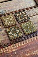 Oscar Stone Decor Taş Bardak Altlığı Stone Coasters 4'lü Set 10 x10 cm Desen Tile Pattern
