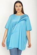 Şans Kadın Mavi Ön Baskılı Bluz 65N26855