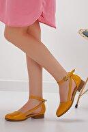 MaskButik Kadın Hardal Kısa Topuk Babet