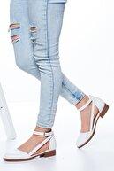 MaskButik Kadın Beyaz Rayna Kısa Topuk Cilt Ayakkabı
