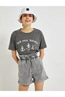 Koton Kadın Antrasit T-Shirt 1YAL18959IK