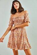 Bianco Lucci Kadın Gipeli Ip Bağlamalı Küçük Çiçek Desenli Elbise