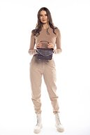 Madamra Kahverengi Süet Kadın Kapaklı Zincirli Çapraz Çanta