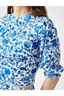 Koton Kadın Çiçekli Bisiklet Yaka Bluz