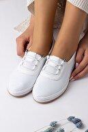 Lal Shoes & Bags Kadın Ortopedik Rahat Babet Spor Ayakkabı-beyaz