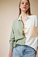 Happiness İst. Kadın Açık Çağla Yeşili Blok Renkli Oversize Viskon Gömlek DD00843