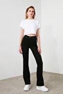 MODA AKIMI Manolya Yüksek Bel Ispanyol Paça Solmayan Siyah Jeans Kot Pantolon