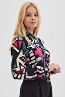 Pattaya Kadın Grafik Desenli Uzun Kollu Viskon Gömlek P21s110-6373