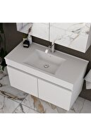banos Tm3 Ayaksız 2 Kapaklı Lavabolu Beyaz Mdf 85 Cm Banyo Dolabı Aynalı Üst Dolap Boy Dolabı